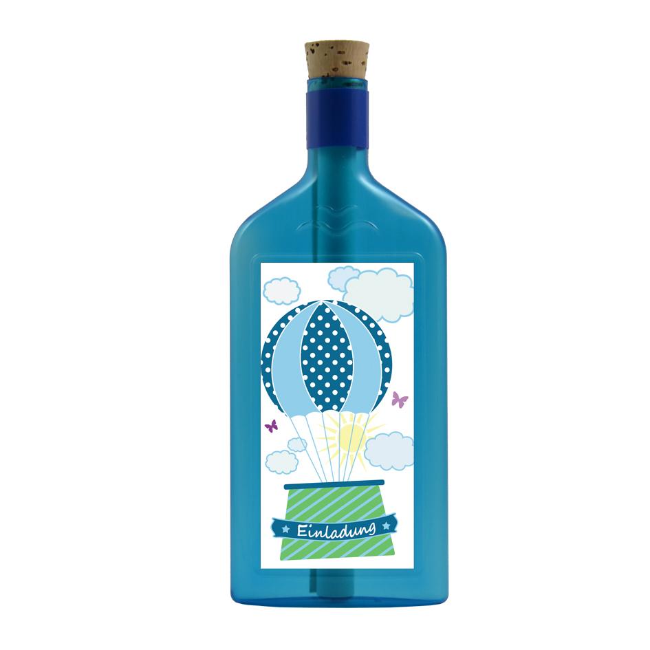 Blaue Flasche mit Einladungs Aufkleber