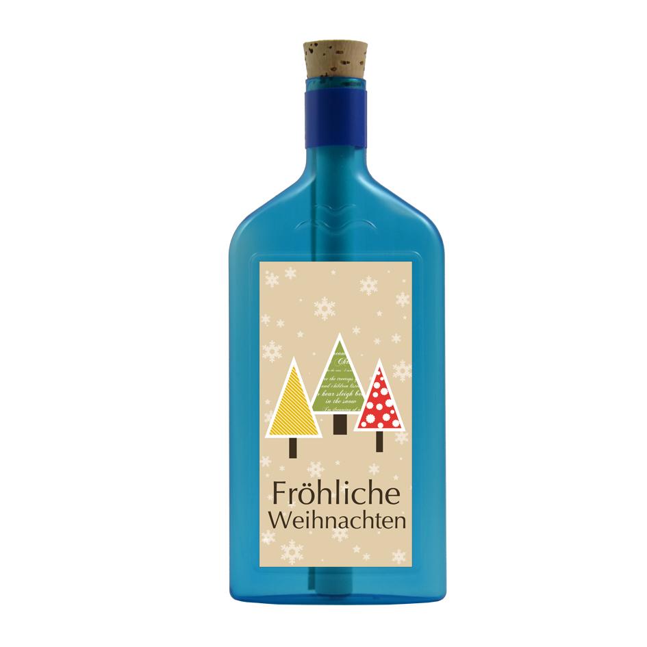 """Blaue Flasche mit dem Aufkleber """"Fröhliche Weihnachten"""""""