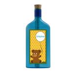 """Blaue Flasche mit Aufkleber """"Einladung"""""""