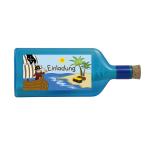 """Blaue Flasche mit Piratensujet """"Einladung"""""""