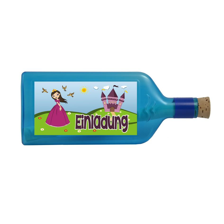 """Blaue Prinzessinen Flasche mit Sujet """"Einladung"""""""