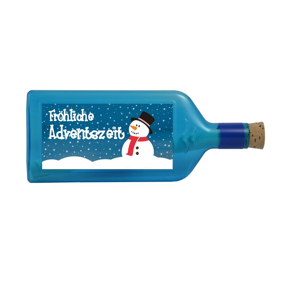 """Blaue Flasche mit Sujet """"Fröhliche Adventszeit"""""""