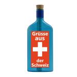 """Blaue Flasche mit Sujet """"Grüsse aus der Schweiz"""""""