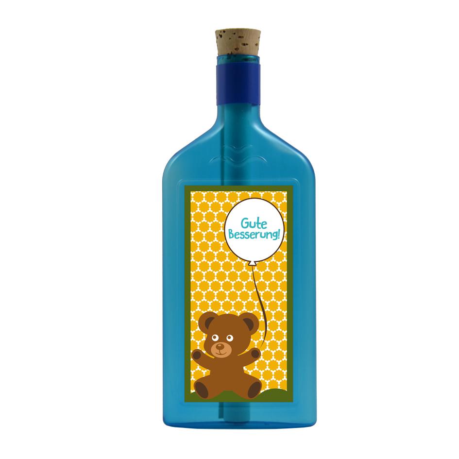 """Blaue Flasche mit Sujet """"Gute Besserung"""""""