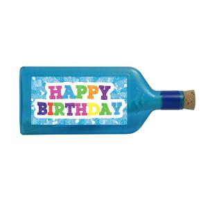 """Blaue Flasche mit Sujet """"Happy Birthday"""""""