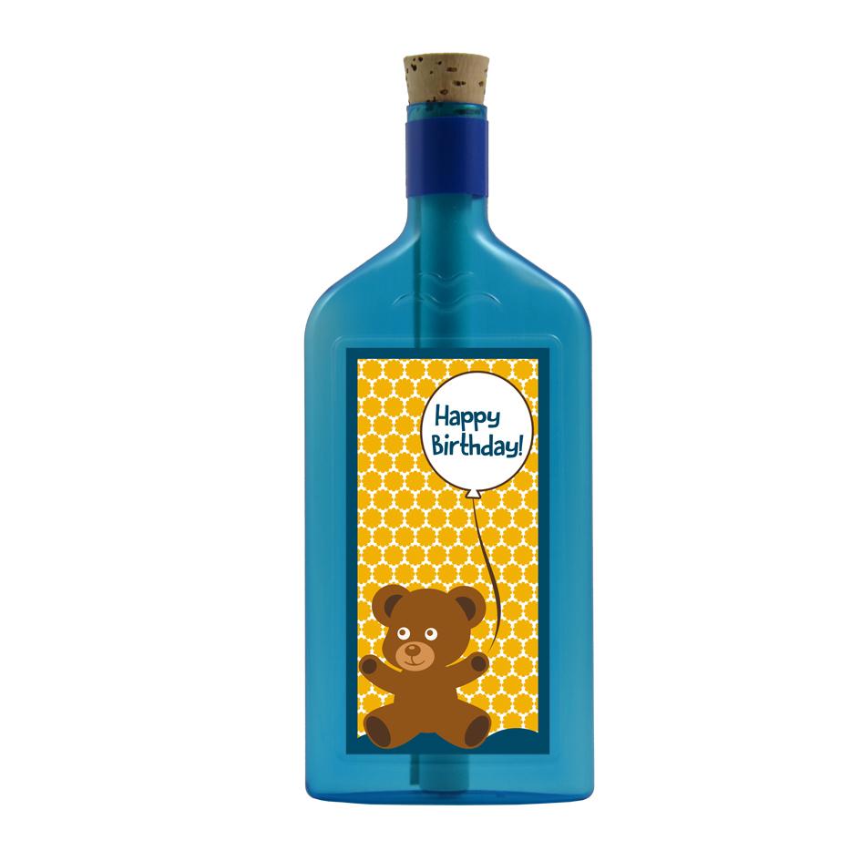 """Blaue Flasche mit Aufkleber """"Happy Birthday"""""""