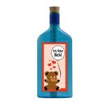 """Blaue Flasche mit Sujet """"Ich liebe Dich"""""""