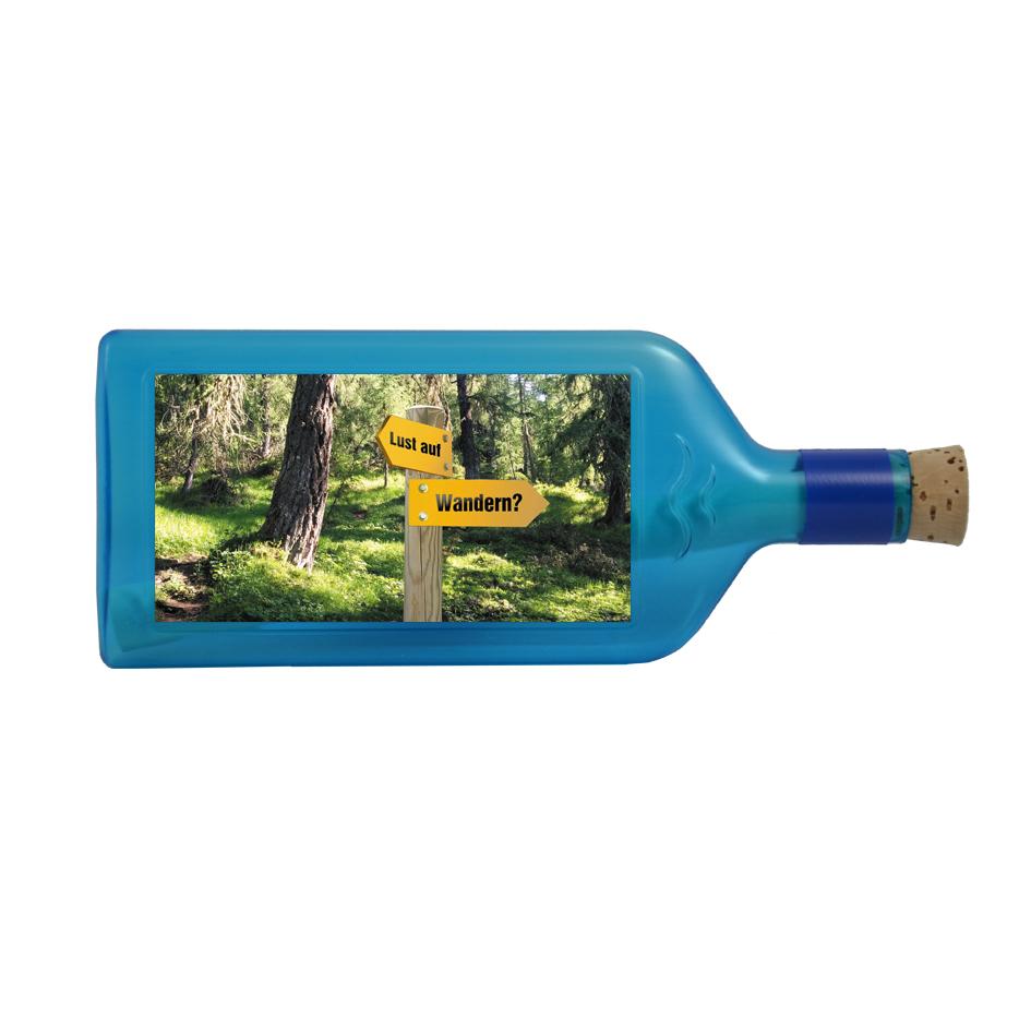 """Blaue Flasche mit Sujet """"Lust auf Wandern"""""""