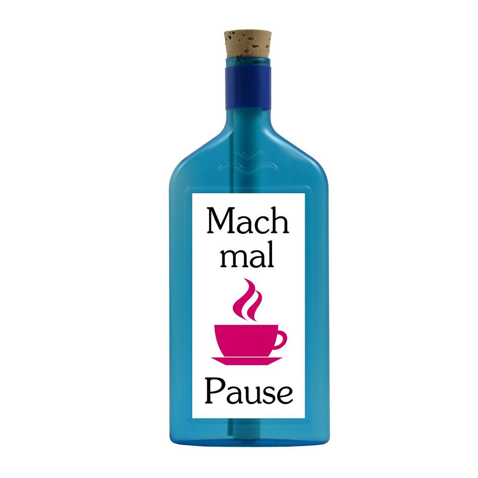 """Blaue Flasche mit Aufkleber """"Mach mal Pause"""""""