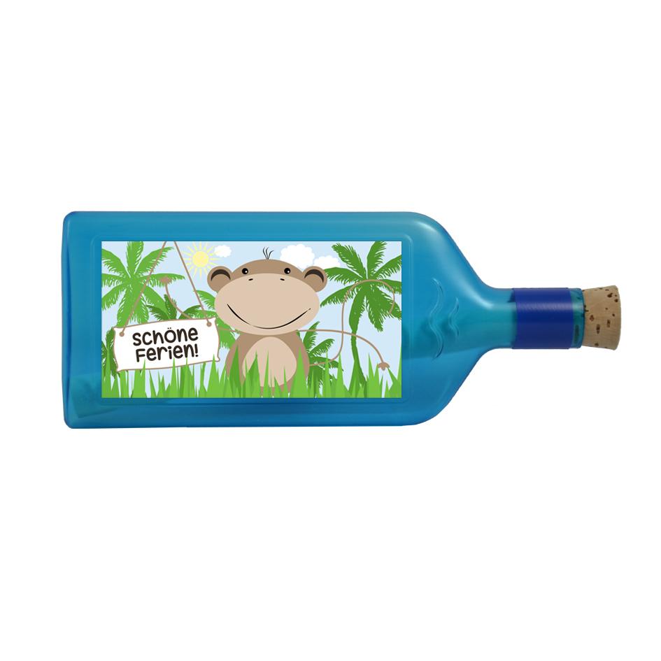 """Blaue Flasche mit Sujet """"Schöne Ferien"""""""