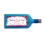 """Blaue Flasche mit Sujet """"Einladung zur Taufe"""""""