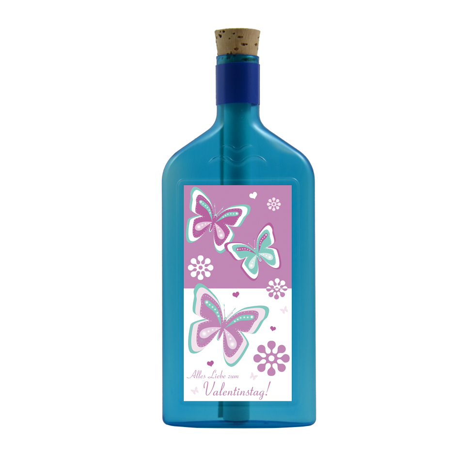"""Blaue Flasche mit Sujet """"Valentinstag"""""""