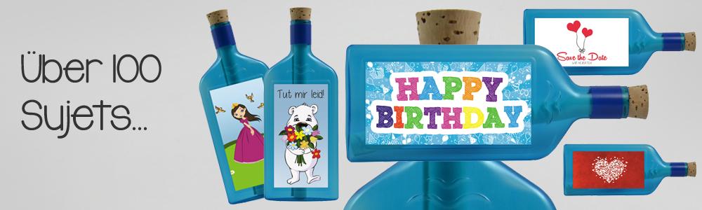 Flaschengruss mit Motivaufkleber