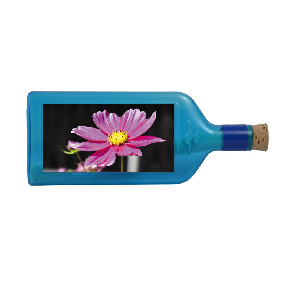 """Blaue Flasche mit Sujet """"Blume"""""""