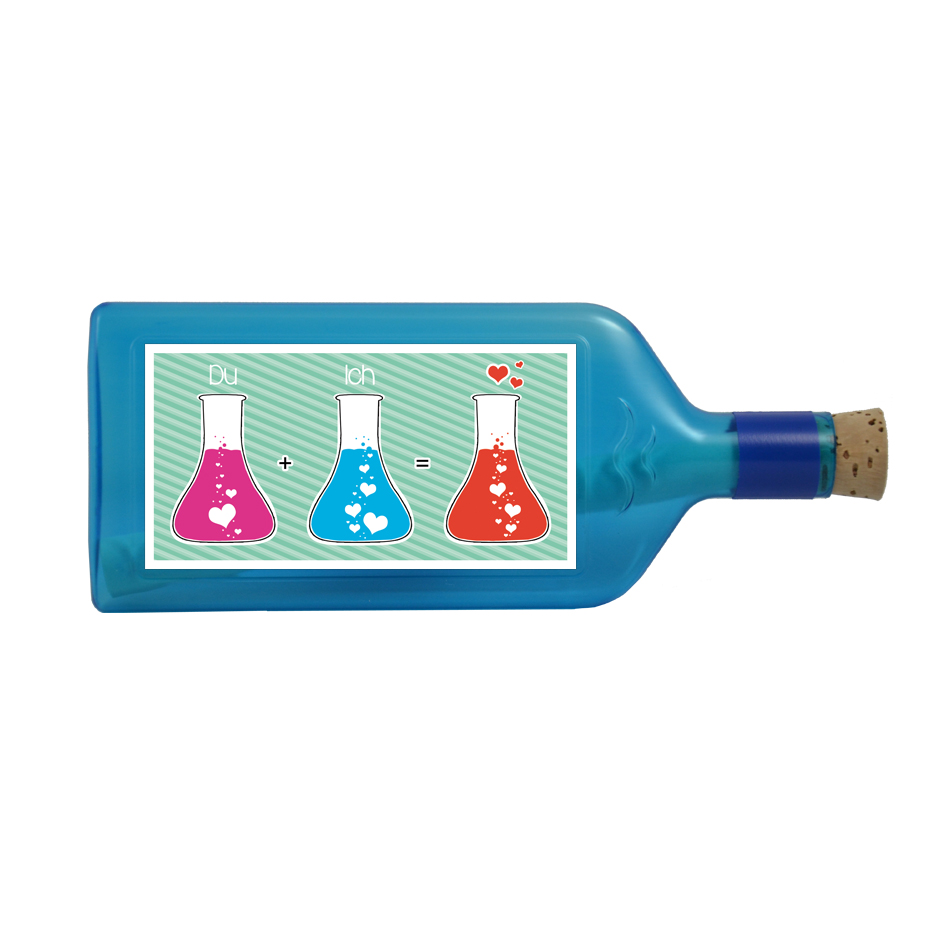 """Blaue Flasche mit Sujet """"Du + Ich = ♥"""""""