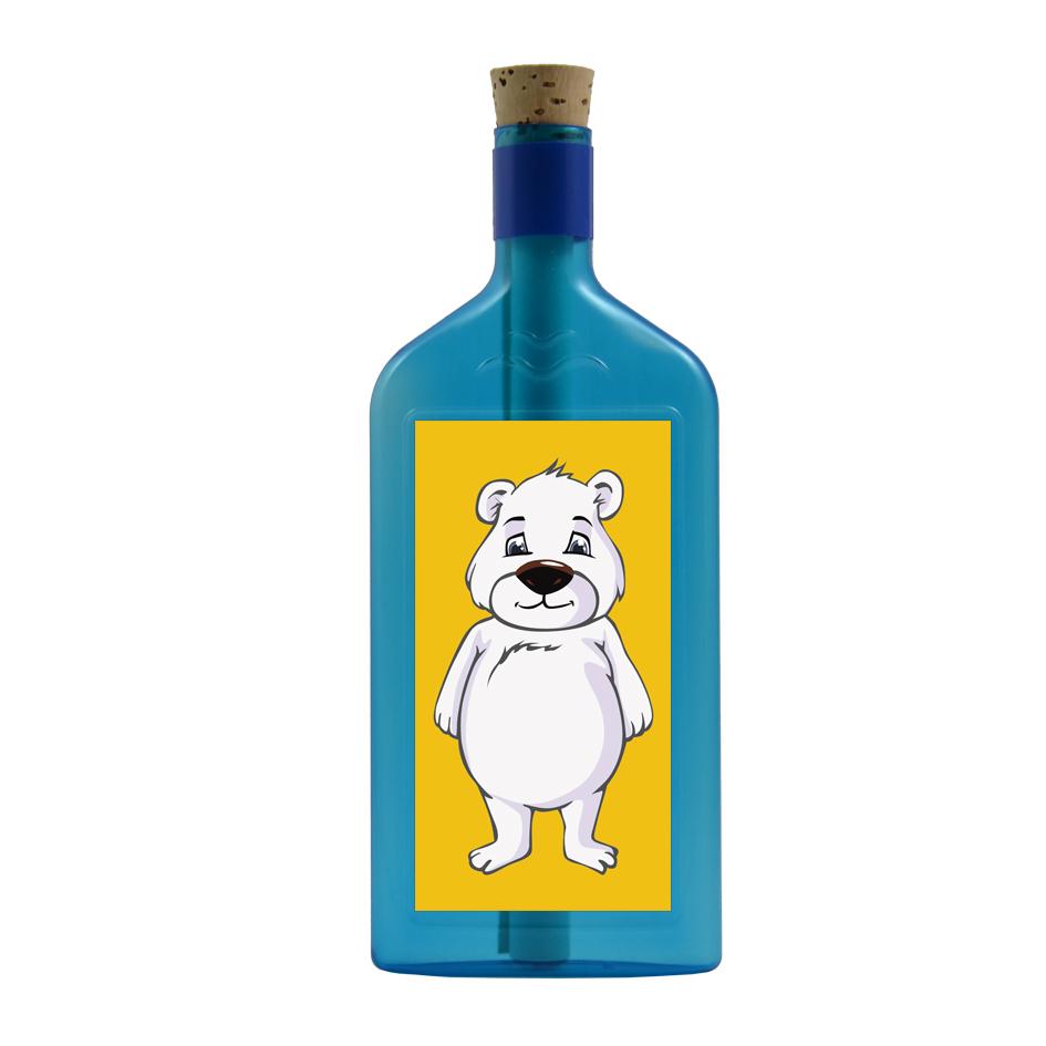 Blaue Flasche mit Eisbär Sujet