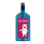 """Blaue Flasche mit Sujet """"Eisbär - Für Dich!"""""""