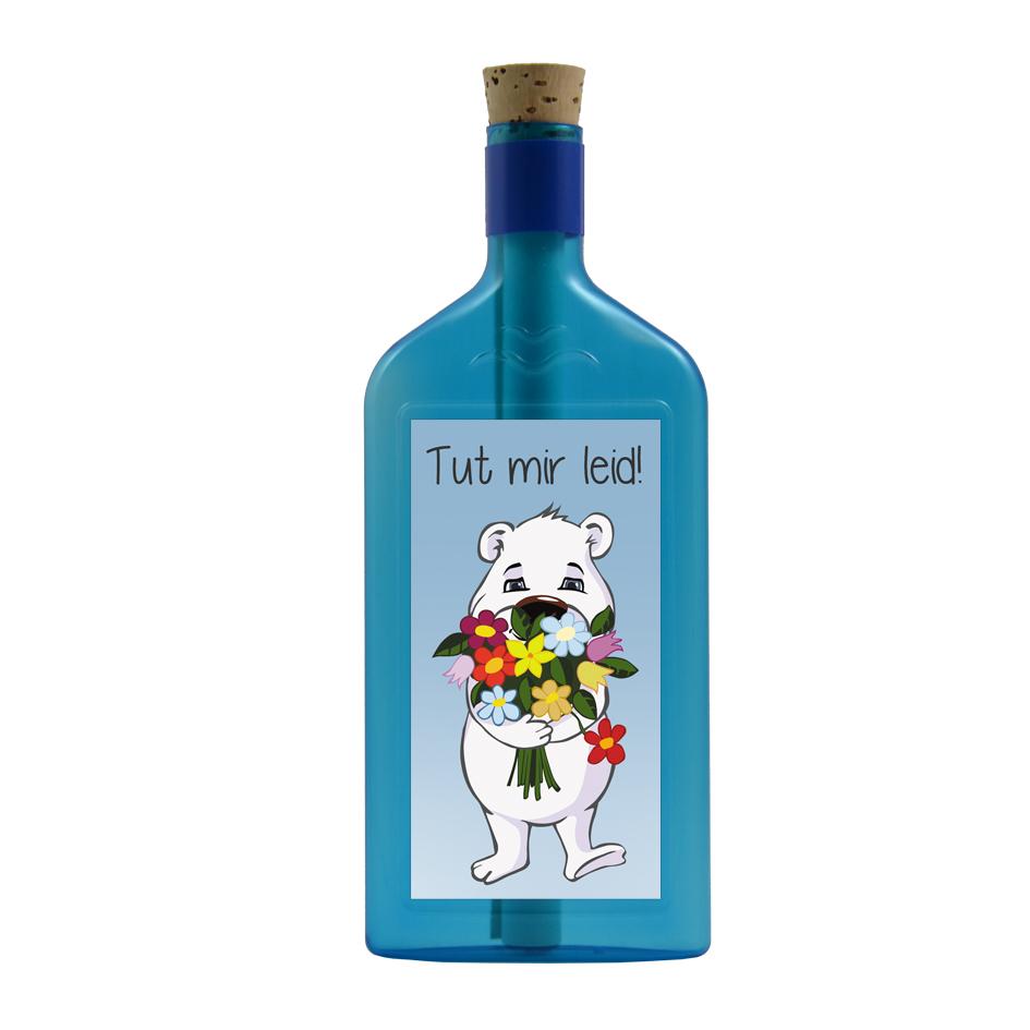 """Blaue Flasche mit Sujet """"Eisbär - Es tut mir leid!"""""""