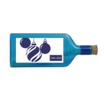 """Blaue Flasche mit Sujet """"Weihnachten / Advent"""" mit Ihrem Firmenlogo"""