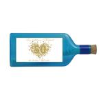 """Blaue Flasche mit Sujet """"Goldene Hochzeit"""""""
