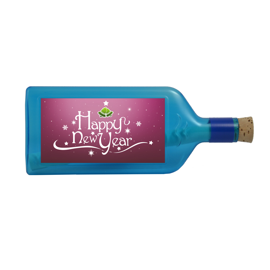 """Blaue Flasche mit Sujet """"Happy New Year"""""""