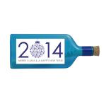 """Blaue Flasche mit Sujet """"Merry X-Mas & A Happy New Year"""""""