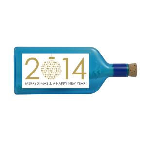 """Blaue Flasche mit Sujet """"Merry X-Mas & A Happy New Year (Gold)"""""""
