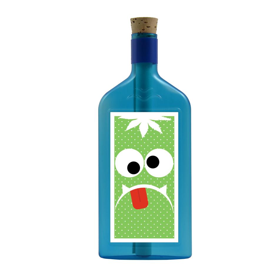 Blaue Flasche mit Monster Sujet