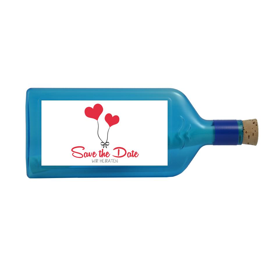 """Blaue Flasche mit Sujet """"Save the Date"""""""