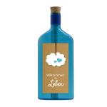 """Blaue Flasche mit Sujet """"Willkommen im Leben"""""""