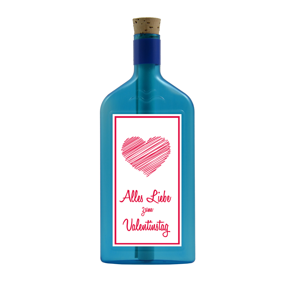 """Blaue Flasche mit Sujet """"Alles Liebe zum Valentinstag"""""""
