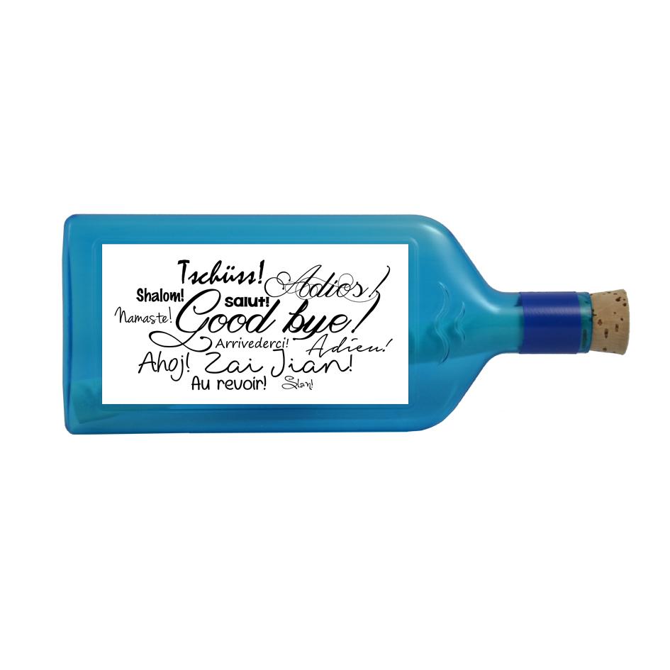 """Blaue Flasche mit Sujet """"Good bye!"""""""