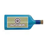 """Blaue Flasche mit Sujet """"Gutschein"""""""