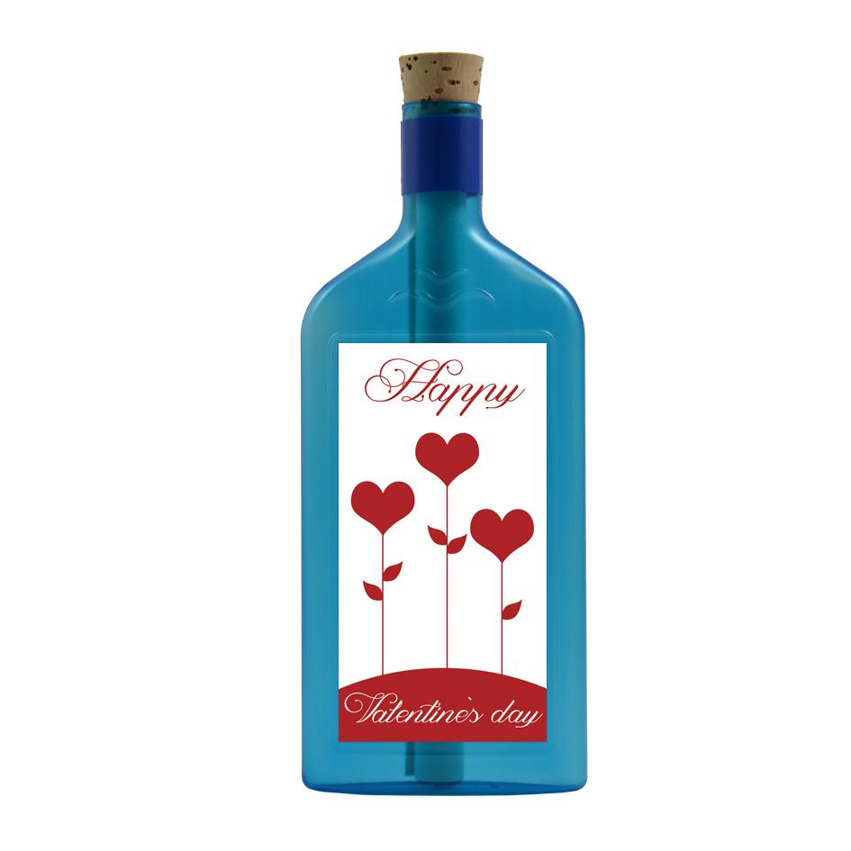 """Blaue Flasche mit Sujet """"Happy Valentine's day"""""""