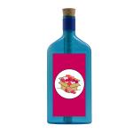 """Blaue Flasche mit Sujet """"Herz Box"""""""