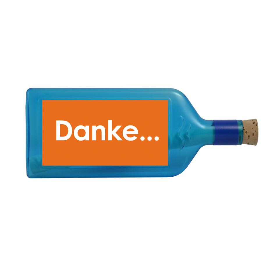 """Blaue Flasche mit Sujet """"Danke..."""""""