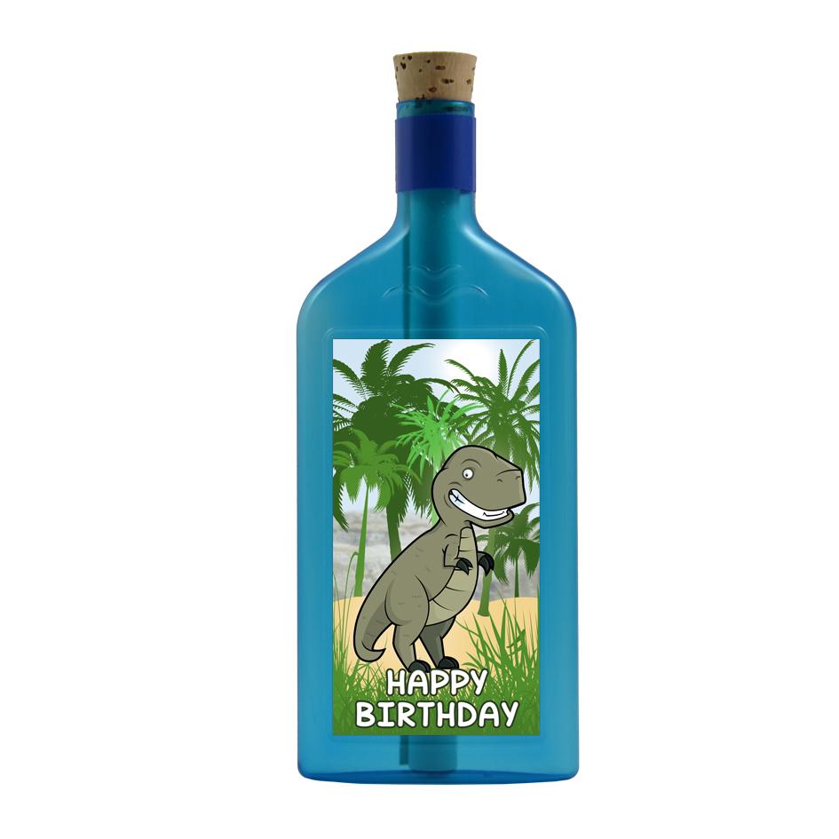 """Blaue Flasche mit Sujet """"Dinosaurier """"Happy Birthday"""""""""""