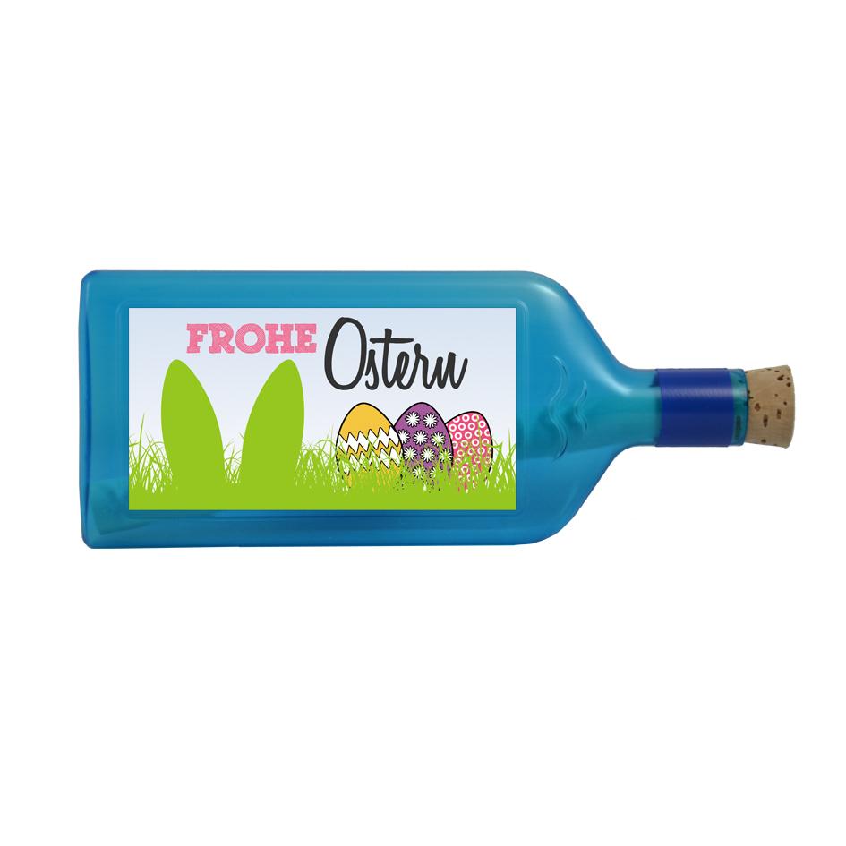"""Blaue Flasche mit Sujet """"Frohe Ostern"""""""
