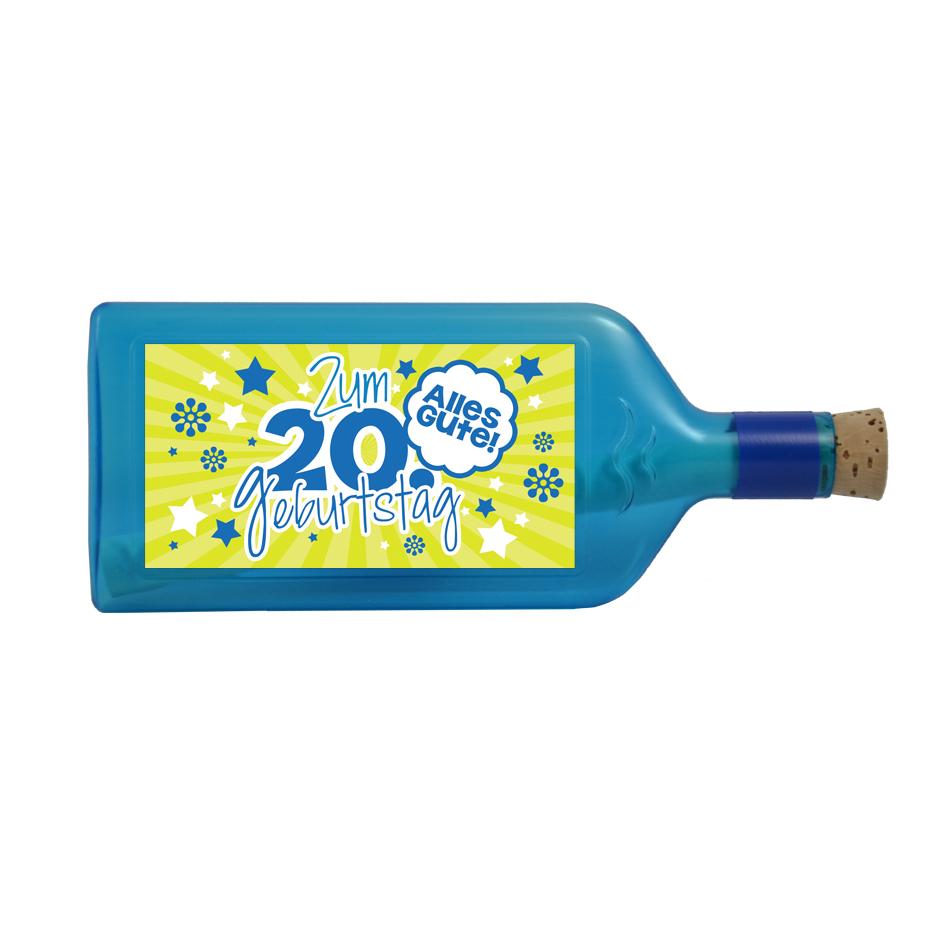"""Blaue Flasche mit Sujet """"Zum 20. Geburtstag"""""""
