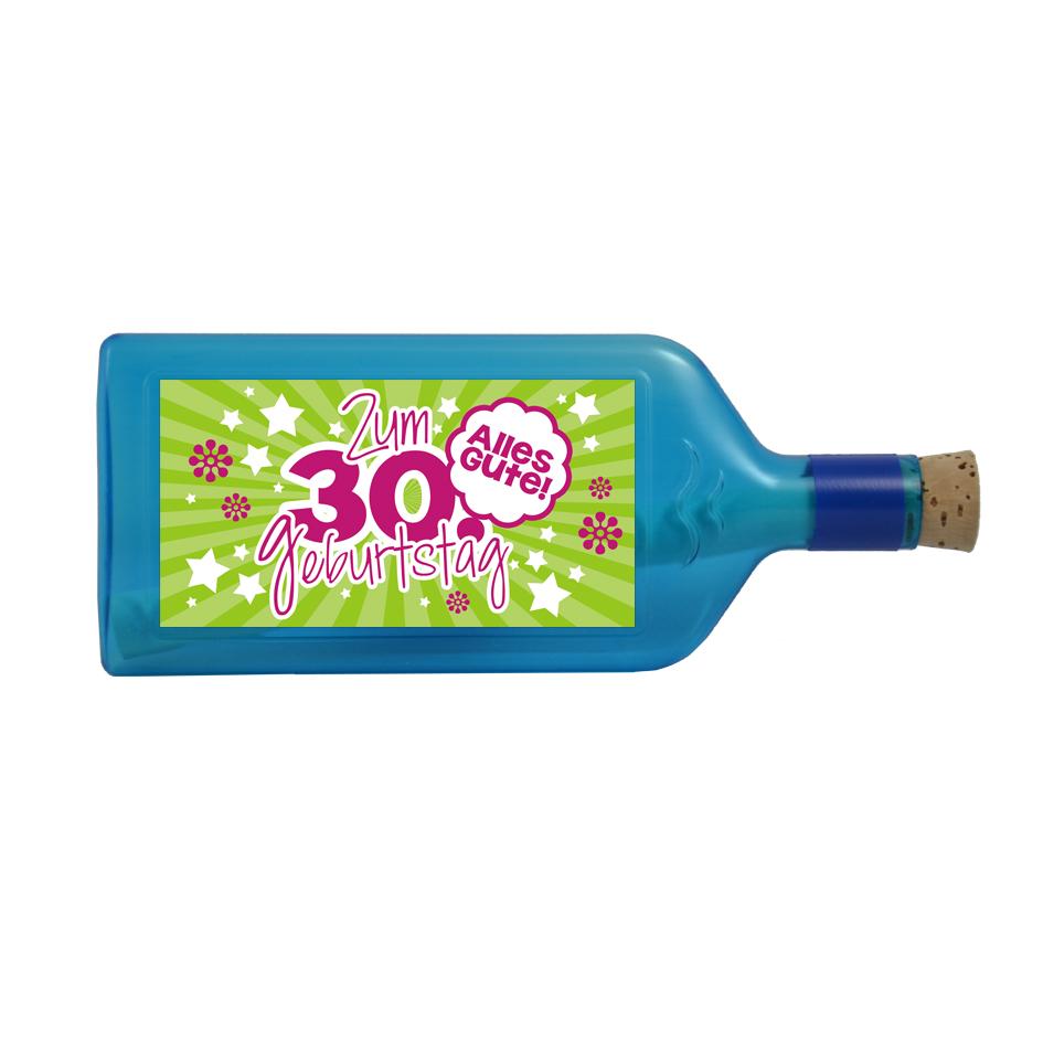 """Blaue Flasche mit Sujet """"Zum 30. Geburtstag"""""""