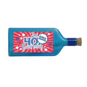 """Blaue Flasche mit Sujet """"Zum 40. Geburtstag"""""""
