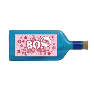 """Blaue Flasche mit Sujet """"Zum 80. Geburtstag"""""""