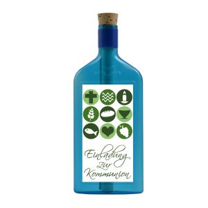 """Blaue Flasche mit Sujet """"Einladung zur Kommunion"""""""