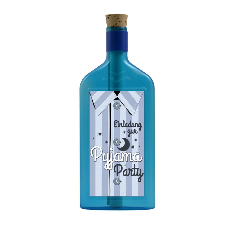Flaschengruss zum Thema: Einladung zur Pyjama Party
